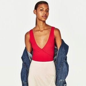 EUC Zara Ribbed Plunge V-Neck Wrap Bodysuit SZ S